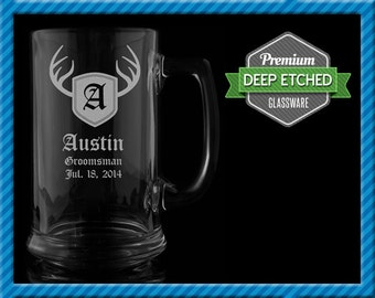 Groomsmen Gift, Deer Antler Personalized Beer Mugs, Personalized Monogram 16 oz Etched Mugs, Groomsmen Gift Wedding