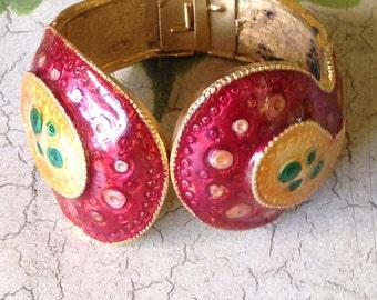Vintage 1970's Enamel Cuff Bracelet
