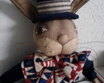 Primitive Patriotic Bunny Rabbit Doll