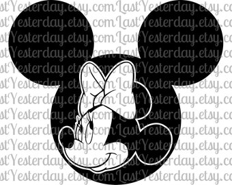 Minnie in Mickey Head DIGITAL DOWNLOAD svg dxf jpg png