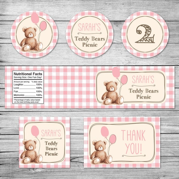 Items Similar To Teddy Bears Picnic Party Pack Labels Pink