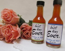 The Best Day ever ~ Pick  Colors Wedding Bridal Shower Save Date Anniversary Rehearsal ~ set of 12 personalized 50ml BBQ Hot sauce favors