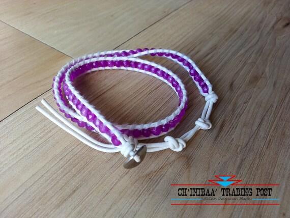 Purple Czech Glass Bead Leather 2 Wrap Bracelet- Handmade