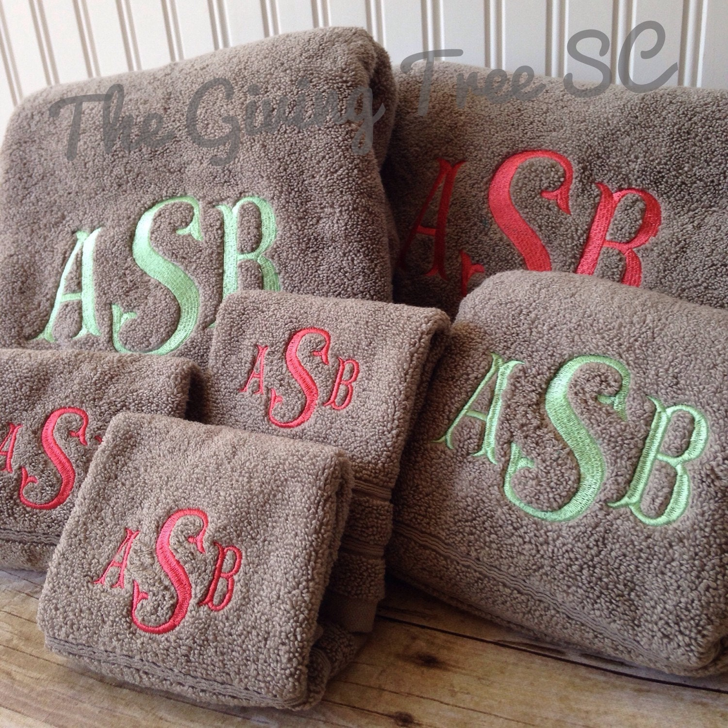 Monogram Towels For Bathroom: Monogrammed Towel Set 4 Bath Towels Embroidered Towels
