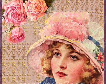 Feminine Victorian Collage 12 x 12