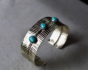 Handmade Silver Fold Formed Cuff Bracelet with Turquoise settings