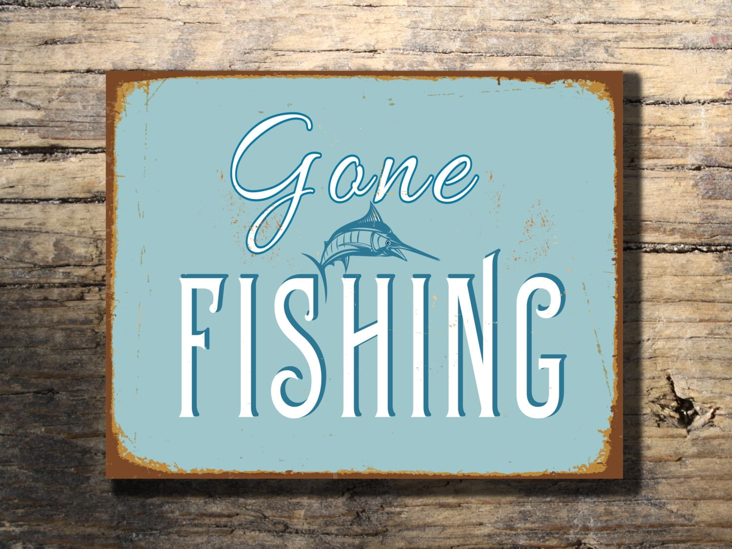 FISHING SIGN Gone Fishing Sign-Vintage style by ...