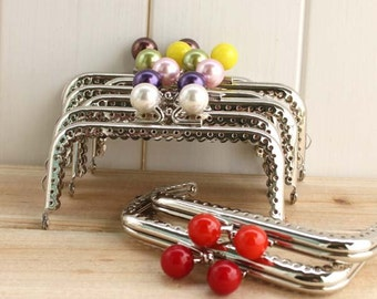 1 PCS, 10cm / 4 inch, Square Solid Beaded Silver Kiss Clasp Lock Purse Frame, C14S