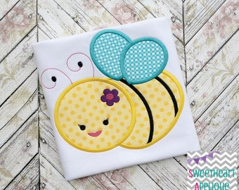 Girl Bee Applique Design, Girl Bee Machine Embroidery Applique, Girl Bee 4x4 5x7 6x10
