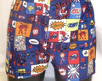 """Mens Cotton Boxers Boxer Shorts Comic Strip M Medium 30-34"""" Open Fly Front Custom Hand Made Mooners UK Geek Gift For Him Fun Underwear Pants"""