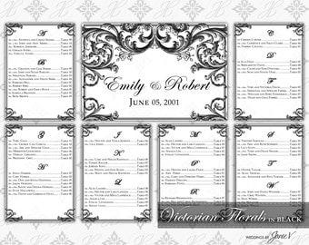 DIY Printable Wedding Seating Chart Template | Printable Seating Plan | Victorian Florals in Black