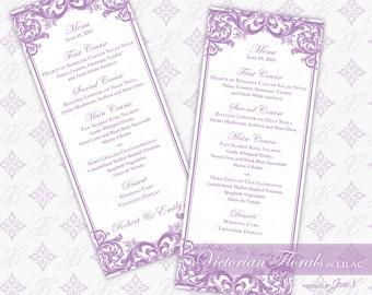 DIY Printable Wedding Menu Template | Printable Menu (tea length) | Victorian Florals in Lilac