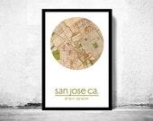 SAN JOSE CA - city poster - city map poster print