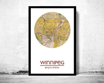 WINNIPEG - city poster - city map poster print