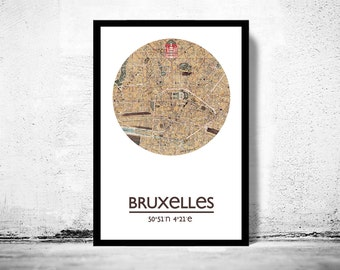 BRUSSELS BRUXELLES - city poster - city map poster print