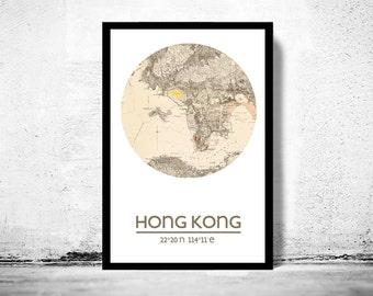 HONG KONG - city poster - city map poster print