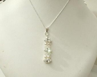 Diamante and pearl wedding necklace, Sterling Silver Swarovski bridal necklace crystal pearl drop necklace wedding jewelry, bridal jewellery