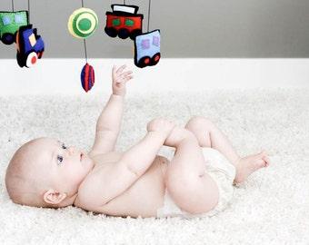 Train Mobile,  Baby Mobile, Nursery decor, Felt Mobile, Baby Boy Mobile, baby shower gift, train theme nursery