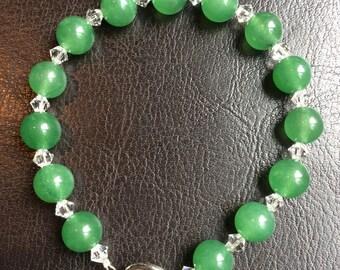 Aventurine and Swarovski Crystal Bracelet