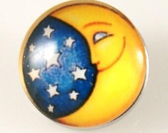 KB2748  Art Glass Print Chunk - Moon & Stars