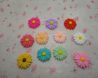 set of 50--mixed color 27mm Flat Back Resin flower Cabochons resin flower charm--OC3011-50