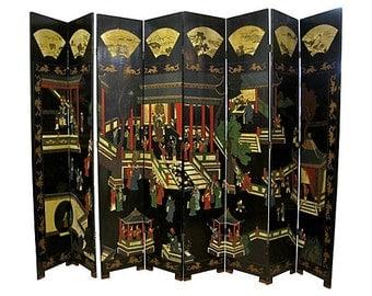 Chinese 8-Panel Coromandel Room Divider, Folding Screen