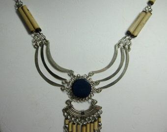 Peruvian Alpaca and Bamboo Necklace #19