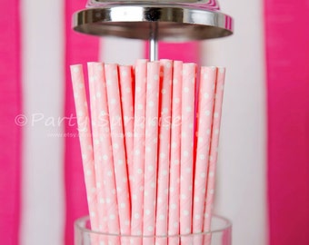 Pink Straws, Baby pink white polka dots straws Gender Reveal Straws, 1st birthday girl Pink and Blue Straws, Polka Dot Straws