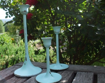 Trio of Painted Brass Candlesticks/Beachy/Shabby Chic/Wedding