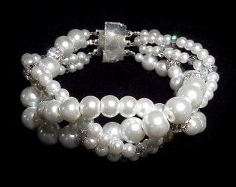 White Pearl & Diamante bracelet.