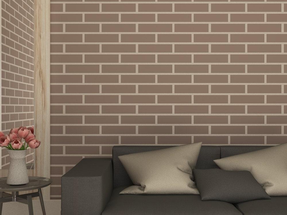 Brick wall imitation stencil faux brick wall by stencilslabny - Pochoir mural a peindre ...