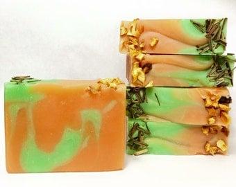 Grapefruit lemongrass soap - handmade soap, lemongrass soap, citrus soap, Natural soap, orange soap, green soap