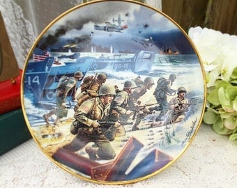 """Franklin Mint WWII Plate, """"Storming the Beaches of Normandy"""" Decorative, Heirloom, Signed, Numbered, Dish, Wall Hanging, kitchen collector's"""