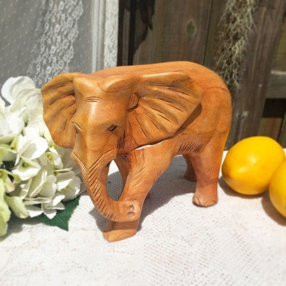 Large decorative carved wood elephant figurine paperweight