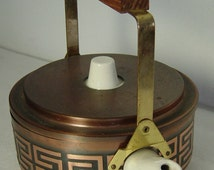 Danish Modern copper covered porcelain teapot with brass and Teakwood handle