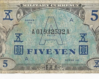 WWII 5 Yen Allied Military Currency