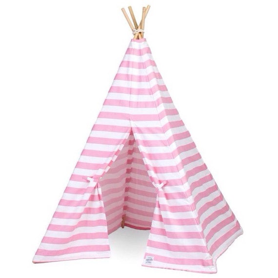 Kids Teepee Play Tent in Pink Stripe Canvas by LittleBrave es