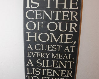 Canvas quote wall art sign - Christ is the center of our home, a guest at every meal a silent listener to every coversation