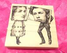 Stampers Anonymous Collage people rubber stamp Lady Man Victorian or Historical Wood Mounted Paper crafts Stamping Scrapbooking Mail Art