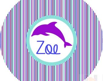 Monogram Dolphin Girls Striped  MOD melamine dinner plate.  A FUN and UNIQUE gift idea! Kids love eating on personalized plates!