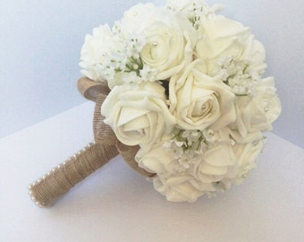 Wedding bouquet shabby chic, rustic white rose and babies breath, burlap, pearl, made to order