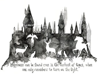 "LARGE Harry Potter Prints - Sizes 16x20 and up, ""Expecto Patronum"", Harry Potter, Hogwarts Castle, Patronus, Watercolor Painting"