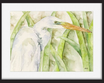 "Discounted Original Egret Painting - Original Watercolor Painting, ""The Water Stalker"", White Egret, Bird, Waterfowl, Original Watercolor"