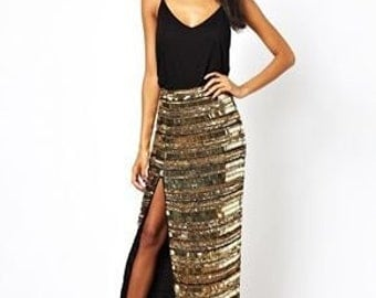 Maxi gold Mirror Skirt with side slpit