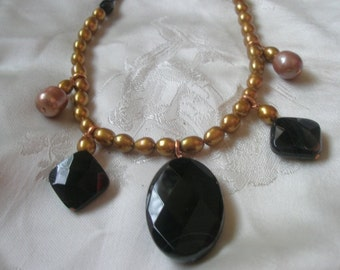 """Faceted Black Onyx Bronze Pearls 17"""" Necklace"""