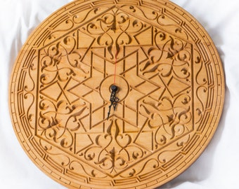 Wood wall clock Indian carving ethnic ornament
