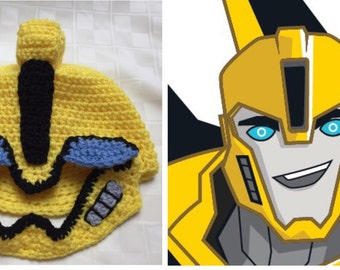 Crochet Pattern for Yellow Robot Hat inspired by Transformers Bumblebee