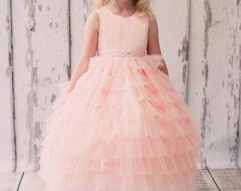 Gorgeous Ruffle Skirt Flower Girl Dress with Gem Belt