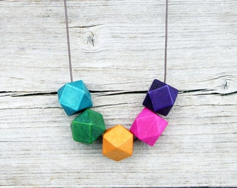 Purple, Pink, Orange, Green and Blue Necklace, Wooden Necklace, Geometric Necklace / Long Necklace / Bold Necklace, Boho Necklace, Colorful