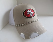 San Francisco 49er, SF 49er Trucker Hat, SF, 49er, Football Team,  Bling Hat, Spirt Hat, Womens Hat, Sworovski Crystal Hat